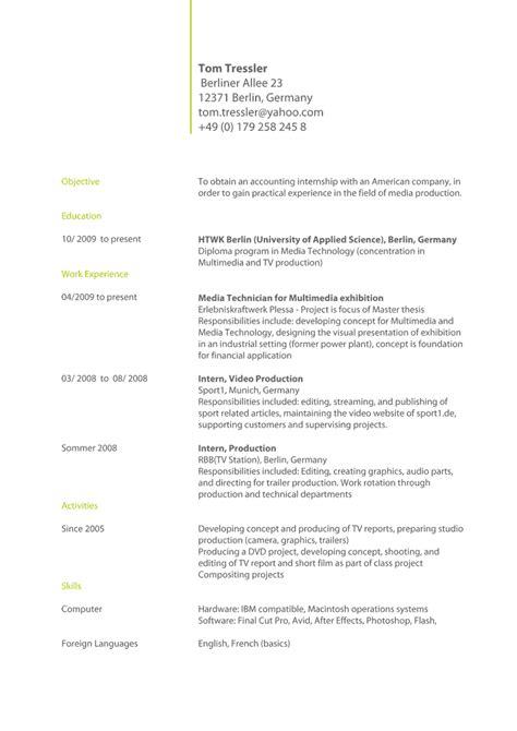 Englischer Lebenslauf Muster by Anschreiben Bewerbung Englisch Coverletter Exle Cv Muster