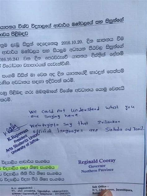 Request Letter In Sinhala Jaffna Varsity Students Send Back Governor S Letter Written In Sinhalese The New Indian Express