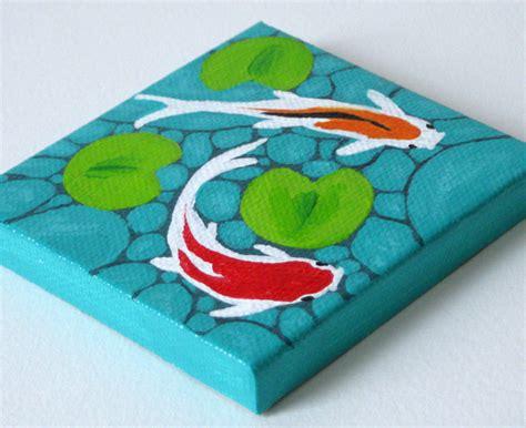 acrylic paint artist pad koi fish pond original painting mini canvas painting
