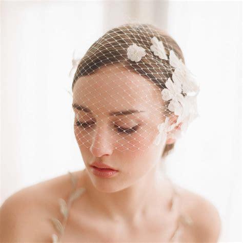 Handmade Veil - bridal bandeau birdcage veil with flowers
