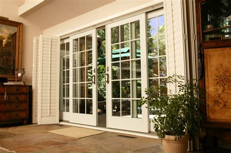 Patio Door Wood by Classic White Wooden Patio Glass Door With Black Iron Knob