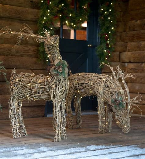 Outdoor Lighted Reindeer Decoration by Lighted Rattan Reindeer Outdoor Decorating