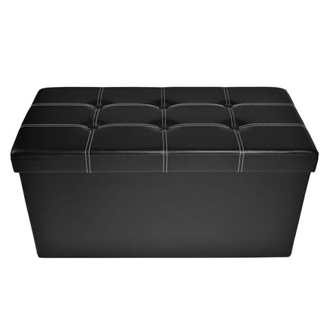 faux leather tufted ottoman collapsible tufted black faux leather storage ottoman