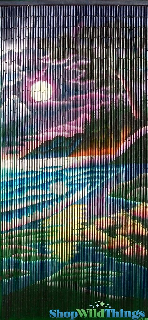 bamboo beaded curtains colorful beach scene bamboo painted beaded curtain 90