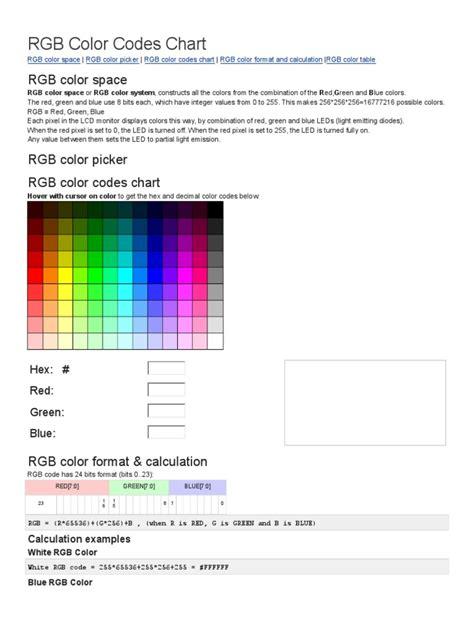 rgb color codes chart rgb color model light emitting