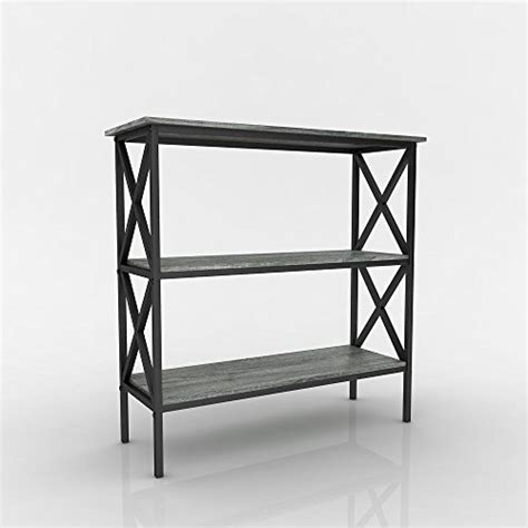 Weathered Grey Oak Finish 3 Tier Metal X Design Bookcase Bookcase Sofa Table