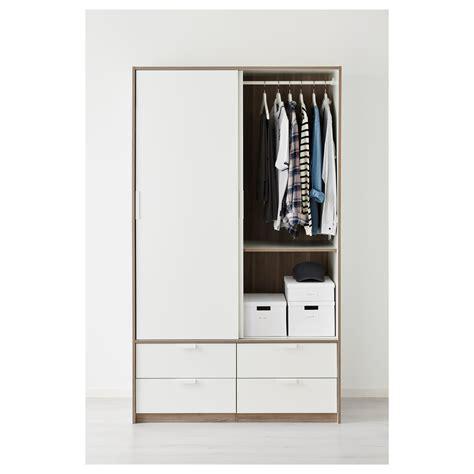 trysil wardrobe w sliding doors 4 drawers white 118x61x202