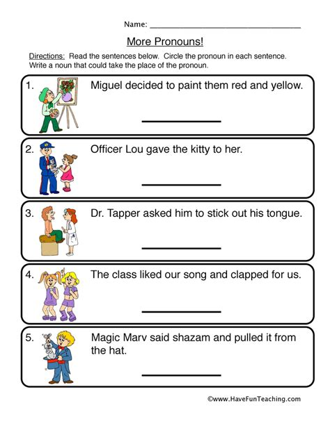 Pronoun Worksheet by Subject Pronouns Worksheets 2nd Grade 1st Grade Grammar