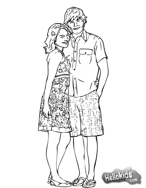 hsm gabriella and troy coloring pages hellokids com