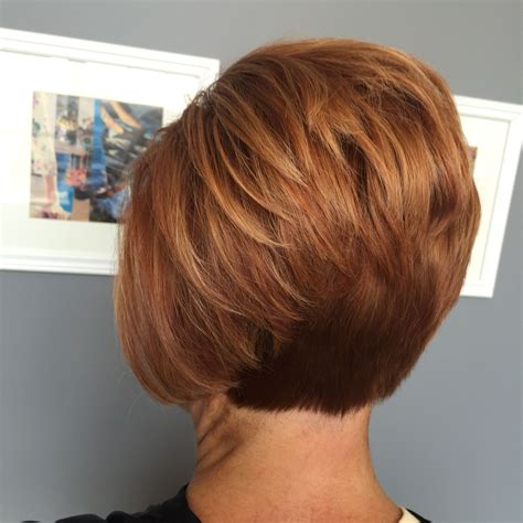 different hairstyles of an elevated bob hairstyle short red stacked bob pinteres