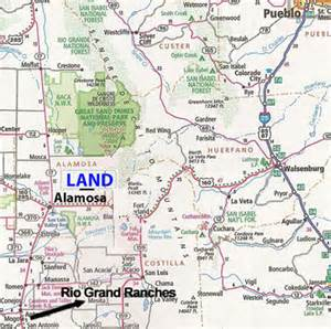 where is alamosa colorado map colorado land 5 acres near the grande river no