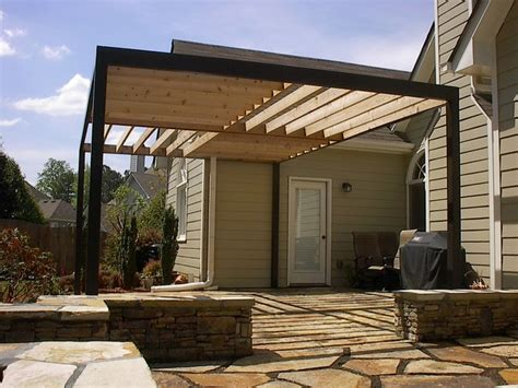 contemporary pergola over stone patio contemporary