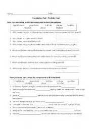 english worksheets vocabulary quiz for trickster tales
