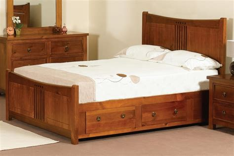 Brown Wooden Bed Frame With Brown Wooden Bed Frame With Drawers And Board Feat White Bedding Sheet As Well As