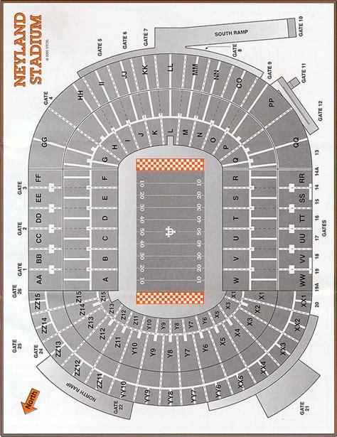 neyland stadium map neyland stadium seating chart by smokey s trail