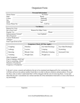 printable veterinary outpatient form