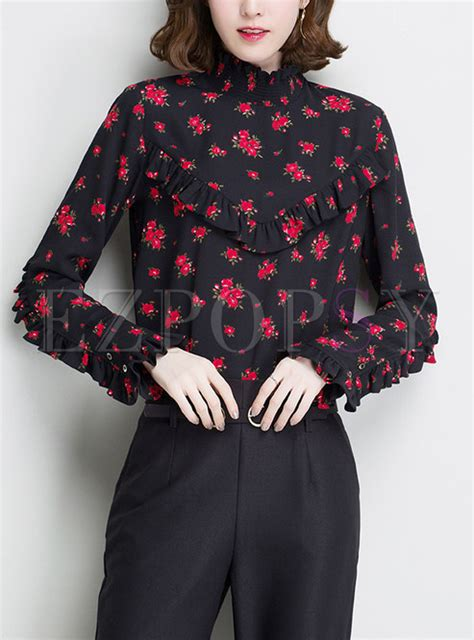 Stand Collar Floral Blouse floral print stand collar stringy selvedge blouse