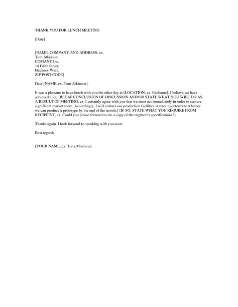 thank you letter after business meeting sle cover letter templates