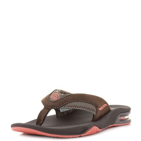 womens reef fanning womens reef fanning lux brown coral toe post sandals flip