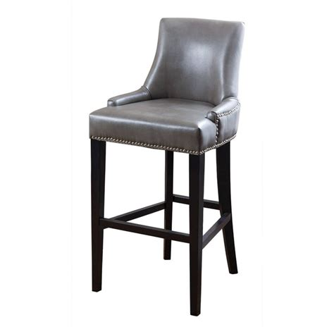 Gray Leather Bar Stools by Abbyson Living Brennan Leather Bar Stool In Gray Hs Bs
