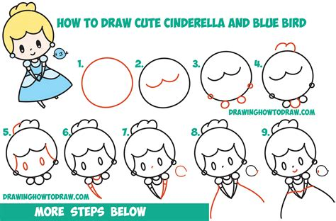 Easy Kid Drawings Step By Step by How To Draw Chibi Kawaii Cinderella Blue Bird