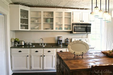 kitchen cabinet diy diy beadboard wallpaper cabinets nest of bliss
