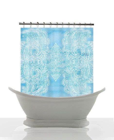 baby blue shower curtain artistic shower curtain baby blue watercolor paisley
