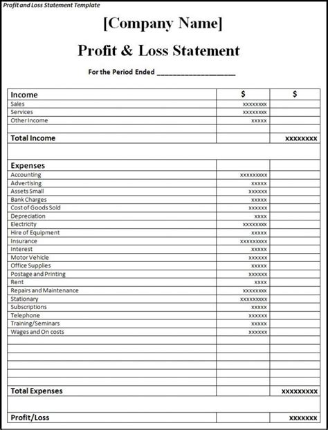 free profit and loss statement template for self employed