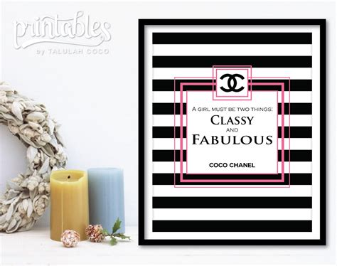 coco chanel quote printable diy home decor free 8 5 coco chanel decor chanel wall art pink classy and fabulous