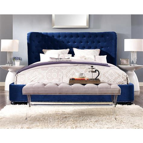 gallery navy upholstered wing bed the land of nod navy blue headboard gallery including naples upholstered