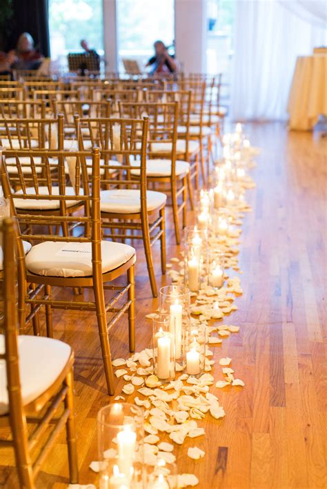 Wedding Aisle With Flowers by Candles The Aisle Wedding Candles Petals Lining The