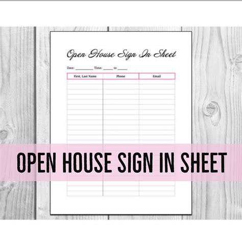 printable open house sheets open house sign in sheet printable pdf