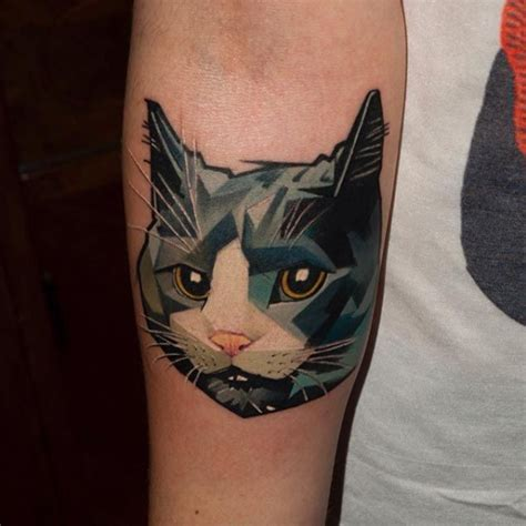 tattoo cat geometric halasz matyas s geometric animal tattoos are setting the