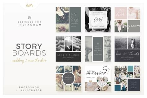 Wedding Storyboard by Storyboards Wedding Instagram Templates Creative Market