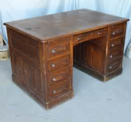 Antique Office Desks Antique Oak Flat Top Office Desk Orginal Finish Heavy Paneled Ebay