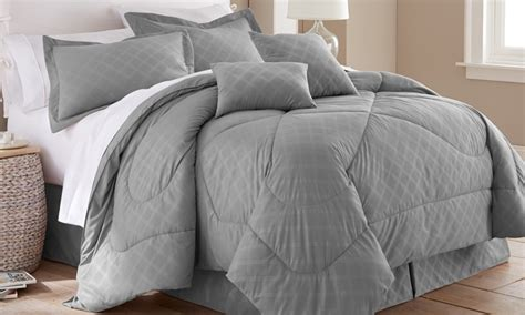 hotel new york 6 piece embossed plaid comforter set groupon