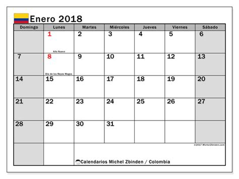 Calendario 2018 Festivos Colombia Michel Zbinden Colombia
