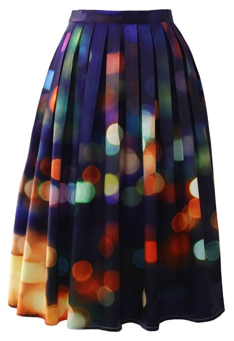 chicwish neon light pleated midi skirt style