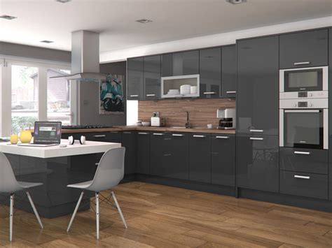 Most Popular Kitchen Designs Zenit Mirror Gloss Slate Grey Modern Kitchen Other