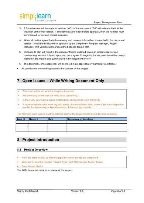 project management plan template doc project management plan template