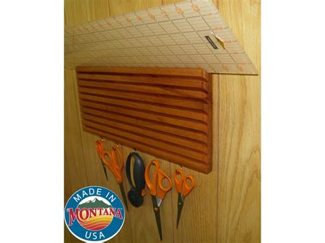 quilting ruler holder wall mounted solid mahogany 10 slot