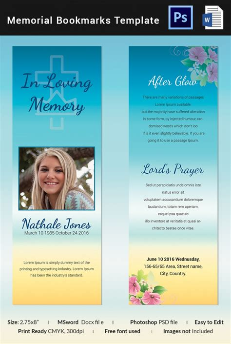 5 Memorial Bookmark Templates Free Word Pdf Psd Documents Download Program Design Trends Funeral Program Template Docs