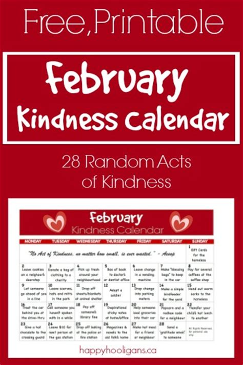 28 random acts of kindness kindness calendar for february happy hooligans child