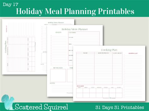 printable holiday meal planner day 17 holiday meal planner printables
