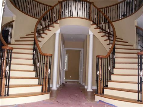 fancy staircase less fancy dual staircase dream home pinterest