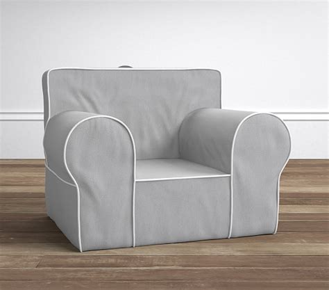 anywhere chair slipcover gray with white piping oversized anywhere chair slipcover