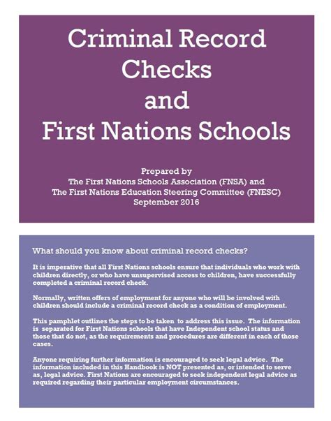 Criminal Record School Criminal Record Checks And Nations Schools Fnsa Ca