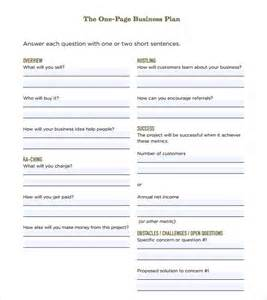 Business Plan Templates Free Downloads by One Page Business Plan Template 10 Free