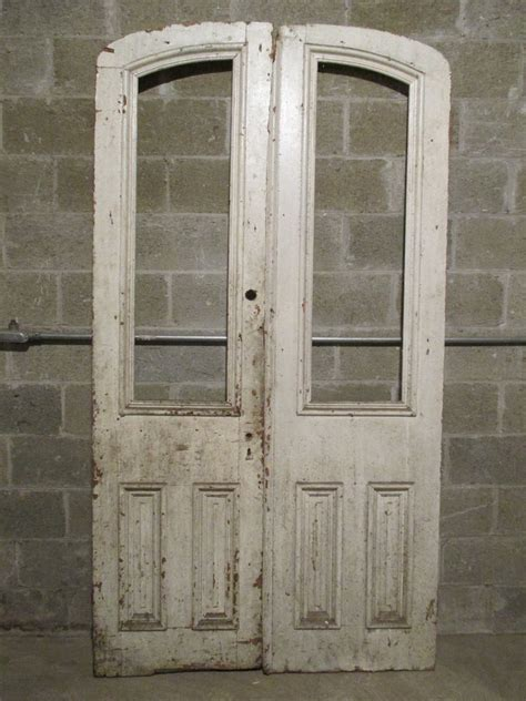 Antique Double Entrance French Doors 48 X 89 Salvaged Glass Doors