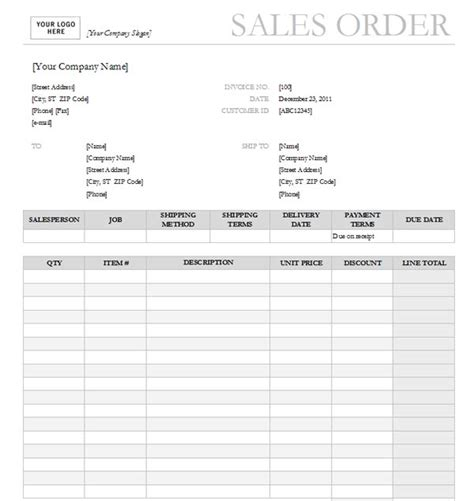 sales order form template sales order templates find word templates